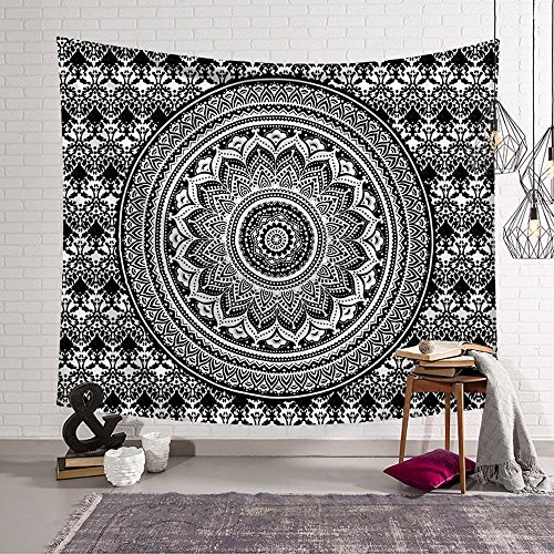 Boxers Indian (Rich Boxer Indian Mandala Tapestry Beach Throw Tapestry Wall hanging Dorm Decor for Living Room Bedroom Beach (Black mandala)(80x50Inches)(203x150cms))