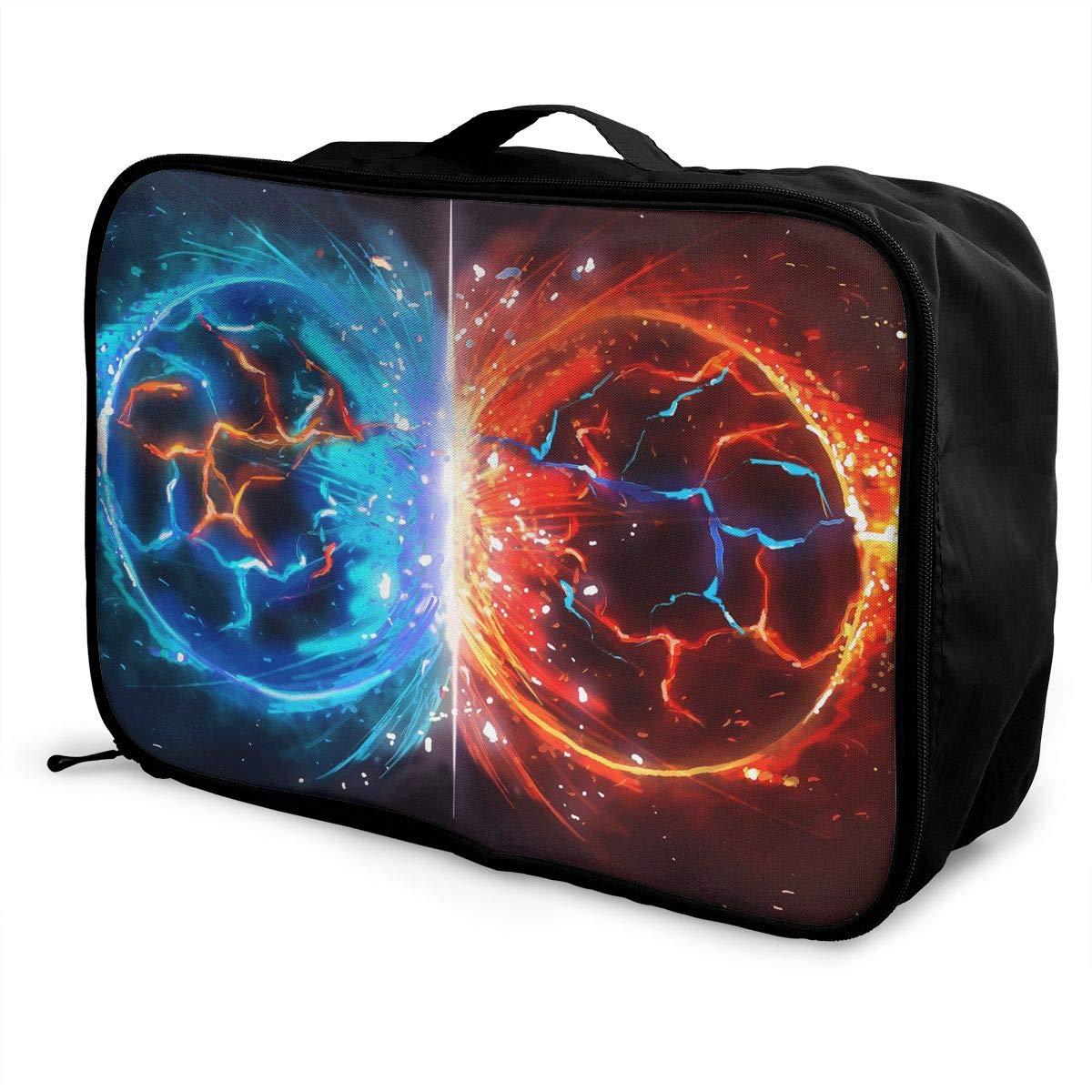 Travel Luggage Duffle Bag Lightweight Portable Handbag Water Fire Print Large Capacity Waterproof Foldable Storage Tote