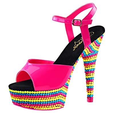 52755718039 Summitfashions Womens Hot Pink Sandals Multi Color Stone Blacklight Shoes  Platform 6 Inch Heel Size