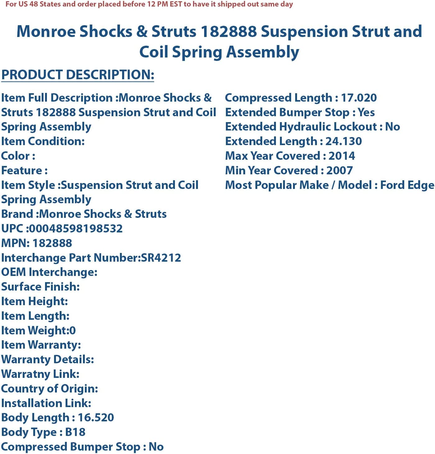 Monroe Shocks /& Struts 182888 Monroe RoadMatic Complete Strut Assembly Suspension Strut and Coil Spring Assembly