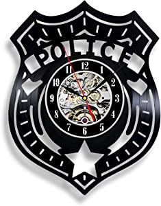 "Handmade Solutions EU Police Officer Badge 12"" Vinyl Record Wall Clock - Law Enforcement Office Decoration"