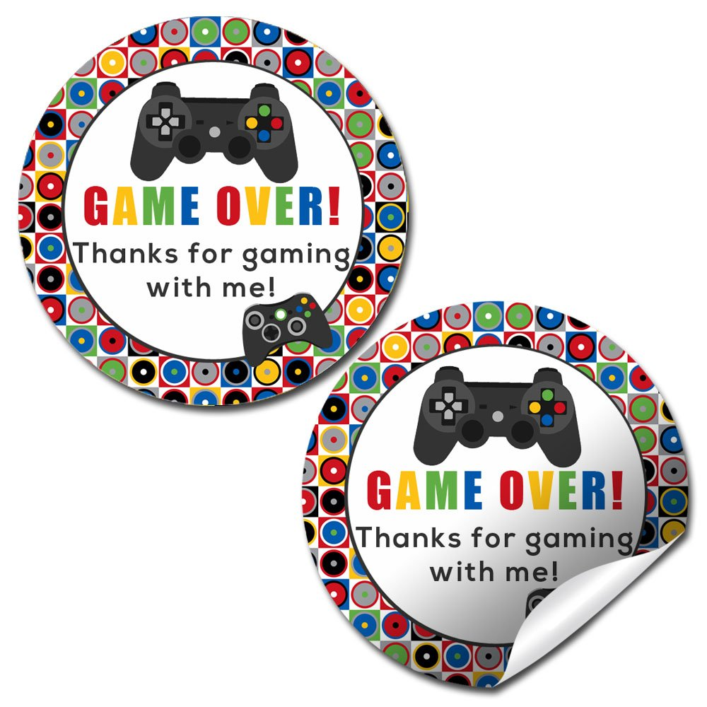 Game Over, Video Game Birthday Party Sticker Labels, 40 2'' Party Circle Stickers by AmandaCreation, Great for Party Favors, Envelope Seals & Goodie Bags