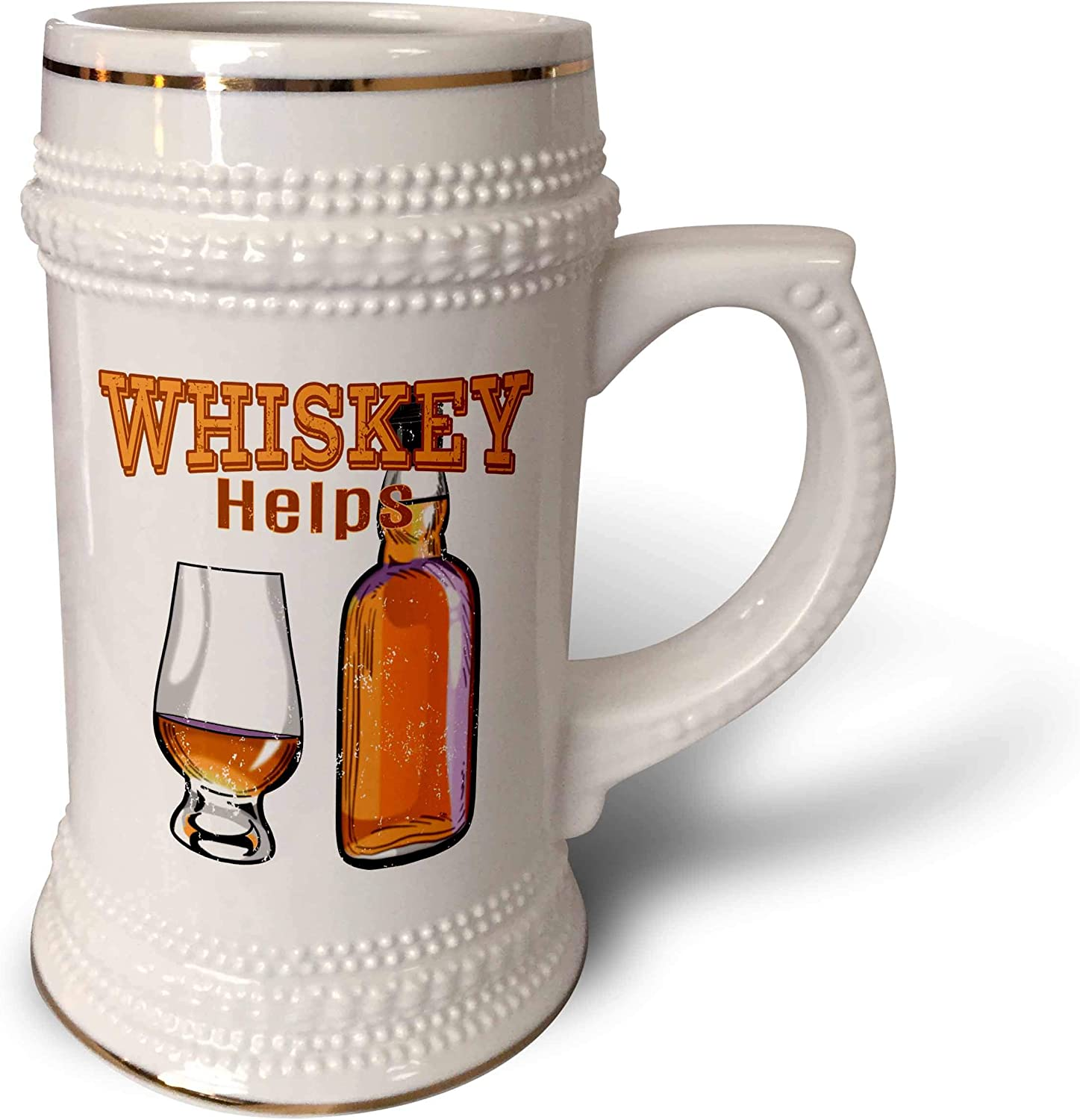 3dRose Funny Drinking Pun Whiskey Helps with a Bottle and Whiskey. - 22oz Stein Mug (STN_326016_1)