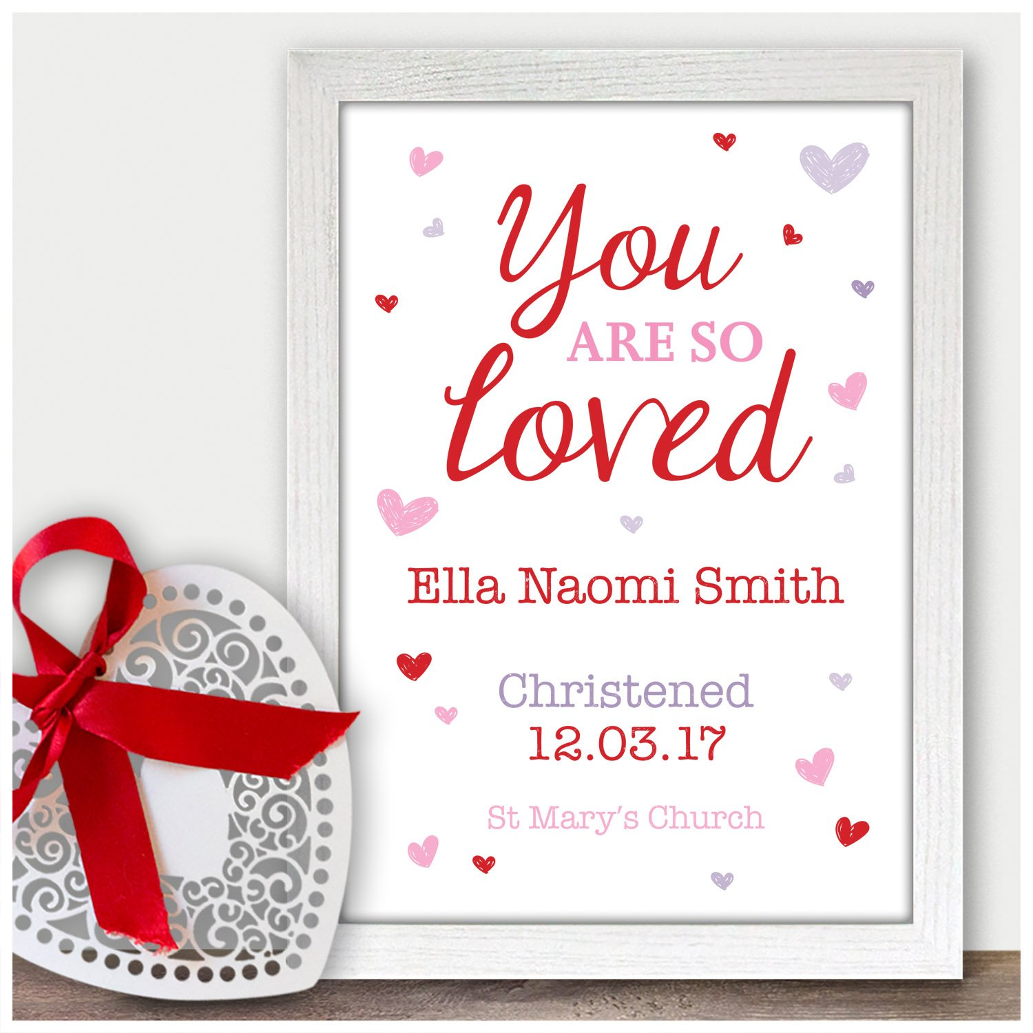 Personalised You Are So Loved Godson Goddaughter Gifts - Christening Baptism Naming Day Gift Present - Handmade Custom Christening Gifts for Baby Girls Boys ...