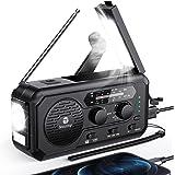 5000mAh Emergency Weather Radio, Hand Crank Solar Radio, AM/FM/NOAA Portable Battery Operated Radio with Flashlight, Reading
