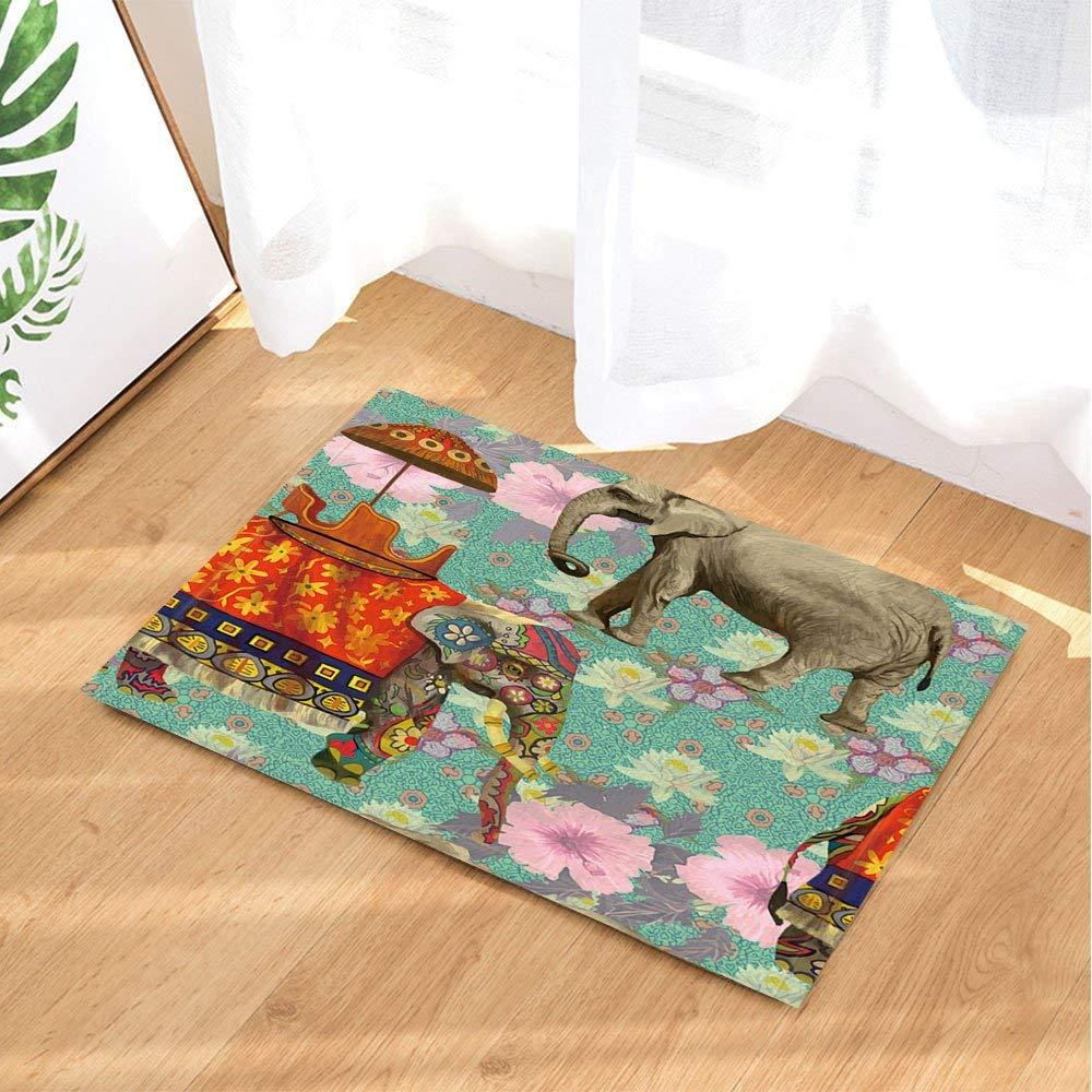 HTSJYJYT Tappeti da Bagno per Animali Elefante Boemia Colorata Thailandia Decor Stile Nazionale Modello Antiscivolo zerbino da Pavimento Tappetino da Bagno per 60X40CM
