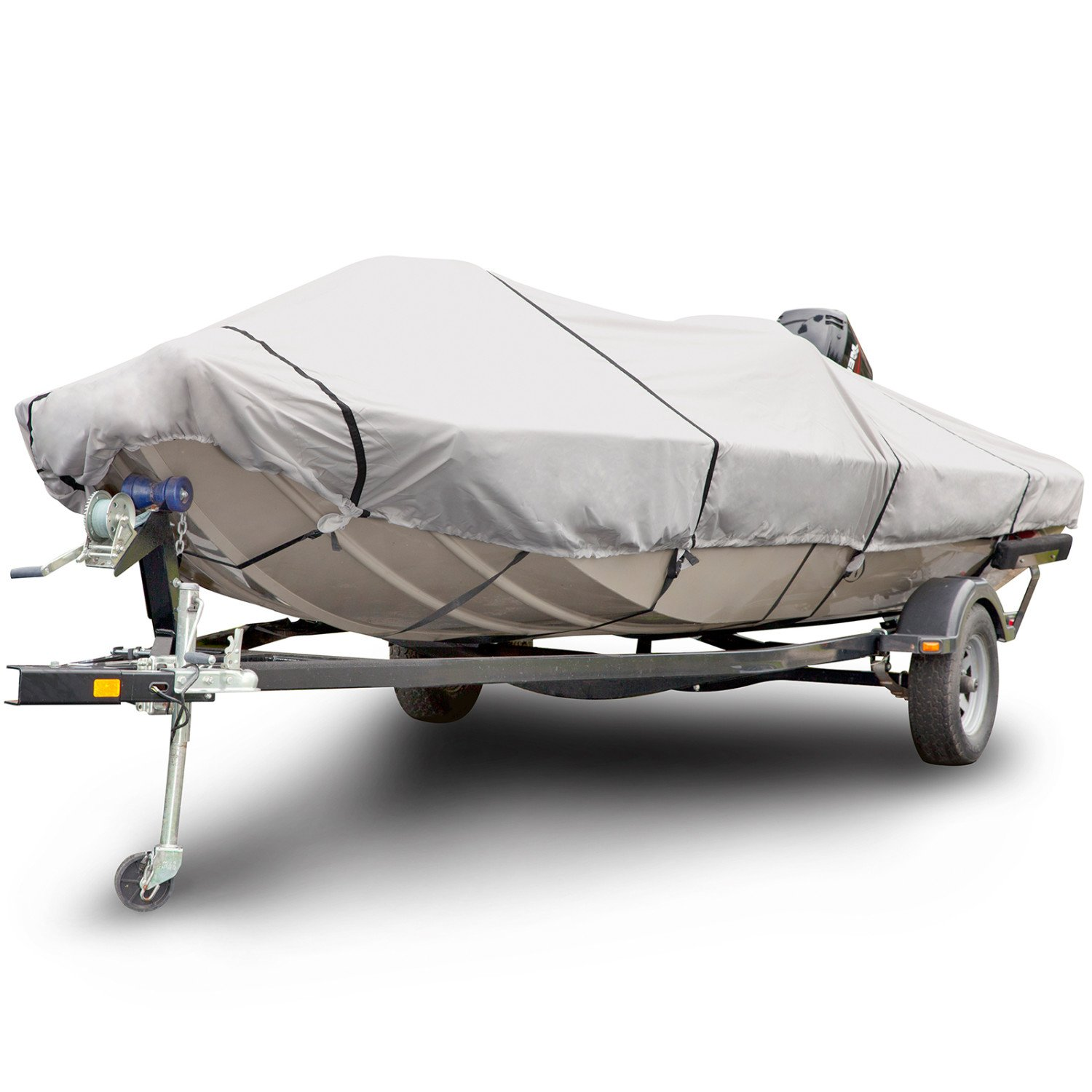 Budge 600 Denier Boat Cover fits Center Console Flat Front/ Skiff / Deck Boats B-641-X6 (20' to 22' Long, Gray)