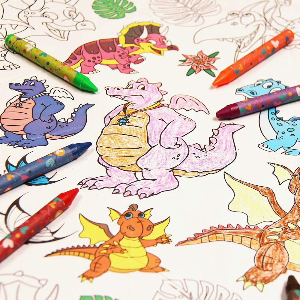 3 in 1 Large Coloring Tablecloth Water Resistant Poster for Kids and Toddlers Colorable Frame «Happy Dino» Fun Painting Activity for Party and Decor Paper Table Doodle Board