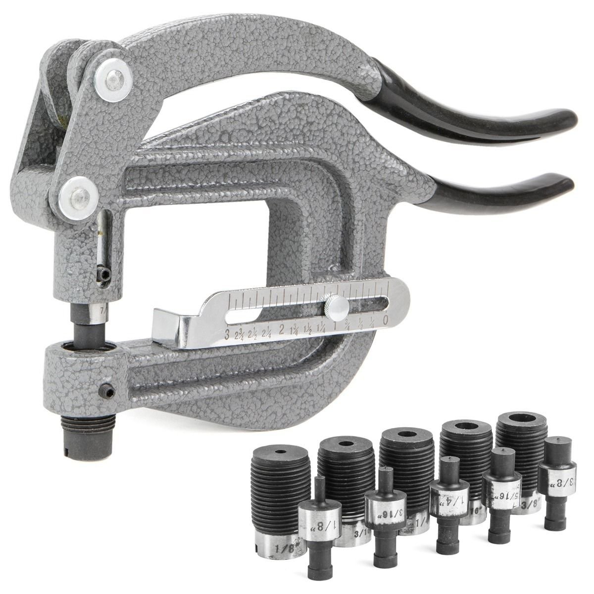 GHP Portable 1.2-Ton Max Force 6-Punch 6-Dies & 5/8'' Opening Puncher Power Punch Kit