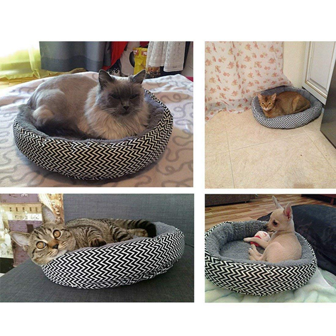Aikesi Cuccia Rotonda per Gatto e Cane Morbido Cotone Animale Domestico Cane Cucciolo Gatto Letto Caldo Casa