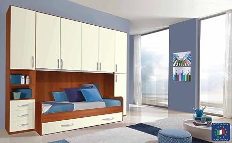 Arredare Camera Con Divano Letto : Cameretta armadio ponte colonne con divano letto eco amazon
