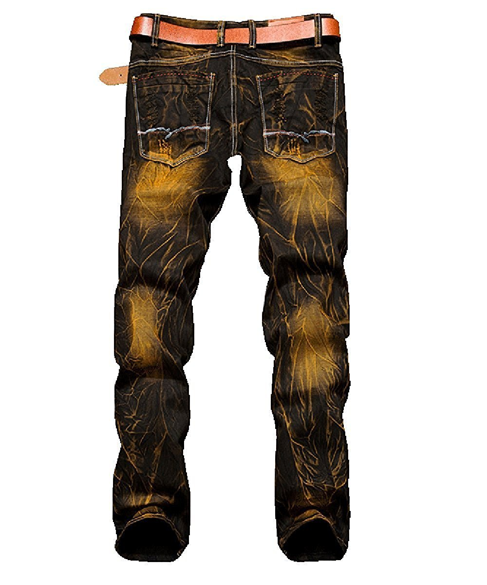 TOPING Fine Fashion;Handsome Men's Ripped Slim Fit Denim Jeans Jogger Pants Vintage Style With Broken Holes GoldW29