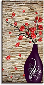 "Canvas Wall Art for The End of Corridor, PIY Vertical Red Leaves Vase Picture with Brick Background, Modern Prints Artwork Aisle Decor (1"" Thick, Waterproof, Bracket Mounted Ready to Hang)"