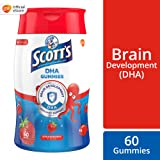 SCOTT's DHA Chewable Gummies, Fish Oil Omega 3 Children Supplement for Immunity and Brain Development Support, Strawberry Flavour, 60ct