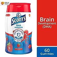 SCOTT's DHA Chewable Gummies, Fish Oil Omega 3 Children Supplement for Immunity and Brain Development Support, Strawberry Flavour, 60ct