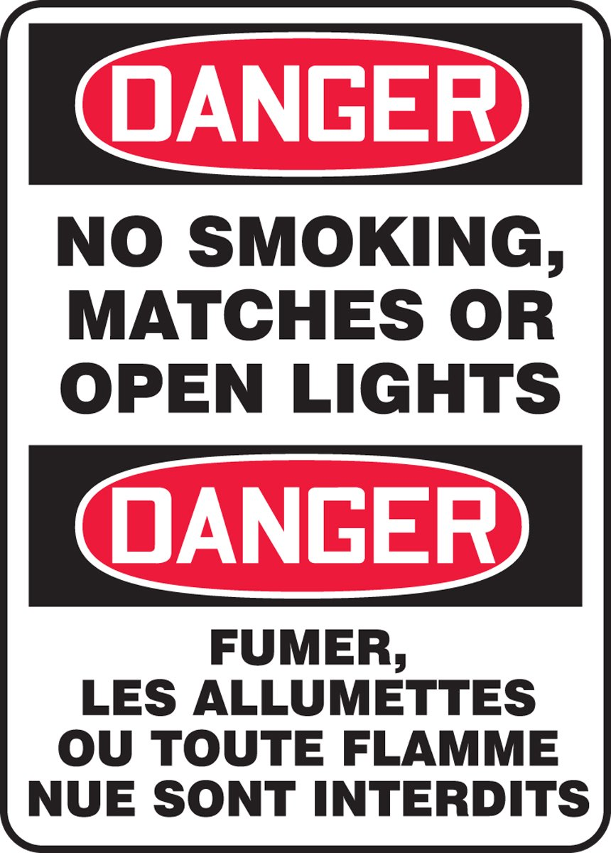Accuform DANGER NO SMOKING, MATCHES OR OPEN LIGHTS (BILINGUAL - FRENCH) (FBMSMK137XL)