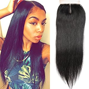 Hotbaby Hair Brazilian Straight Hair 1 Piece Closure Straight Weave Frontal Lace Closure Human Hair Extensions Top Lace Closure