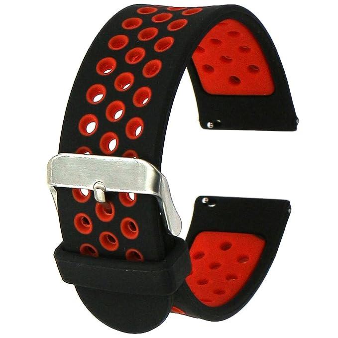 Elespoto 22mm correa Silicona Banda de Reloj de la correa de para Samsung Gear S3 frontier Gear S3 Classic Gear2 Pebble Time Garmin Vivomove Sport ...