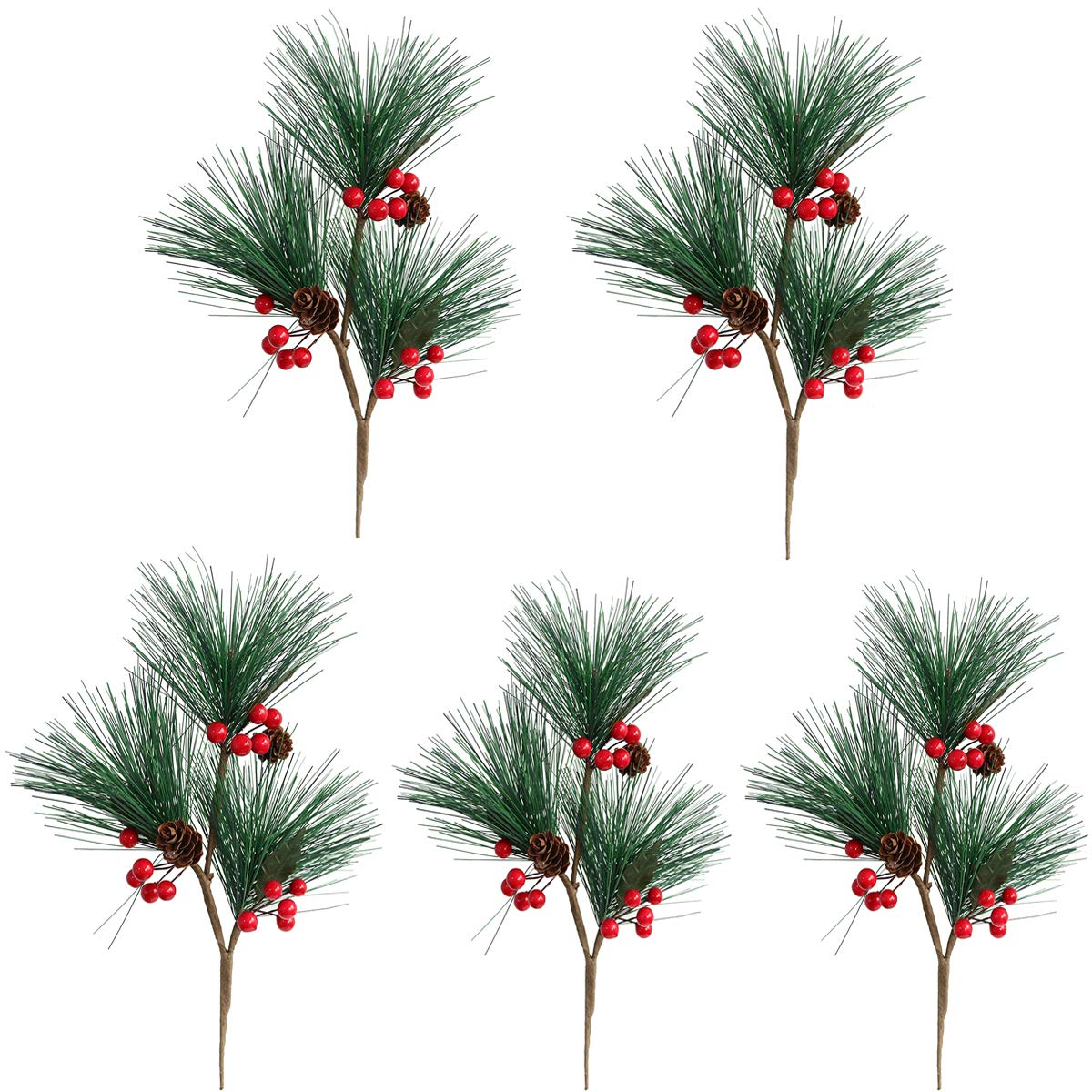 MUFEN 5pcs Artificial Pine Picks Pinecone Red Berries Branches Faux Greenery Foliage Flower Crown Christmas Tree Decoration Holiday Home Winter Decor (Green)