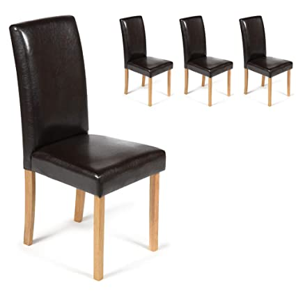 pretty nice 16a42 ef76f Your Price Furniture.com Set of 4 Faux Leather Torino Dining Chairs Brown  With Padded Seat & Oak Finish Legs