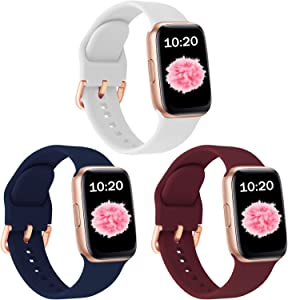 SinJonden 3-Pack Bands Compatible with Apple Watch 42mm 44mm 38mm 40mm, Silicone Bands with Rose Gold Buckle for iWatch Series SE/6/5/4/3/2/1 Women (38mm/40mm-M/L, White/Midnight Blue/Wine Red)