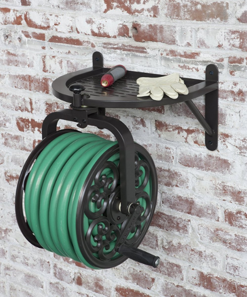 Portable Hose Reel Cart, Comfortable Handle, Steel Material, Bronze Color, Lightweight, Resistant To Weather Conditions, Great Capacity, Sturdy And Durable Construction & E-Book