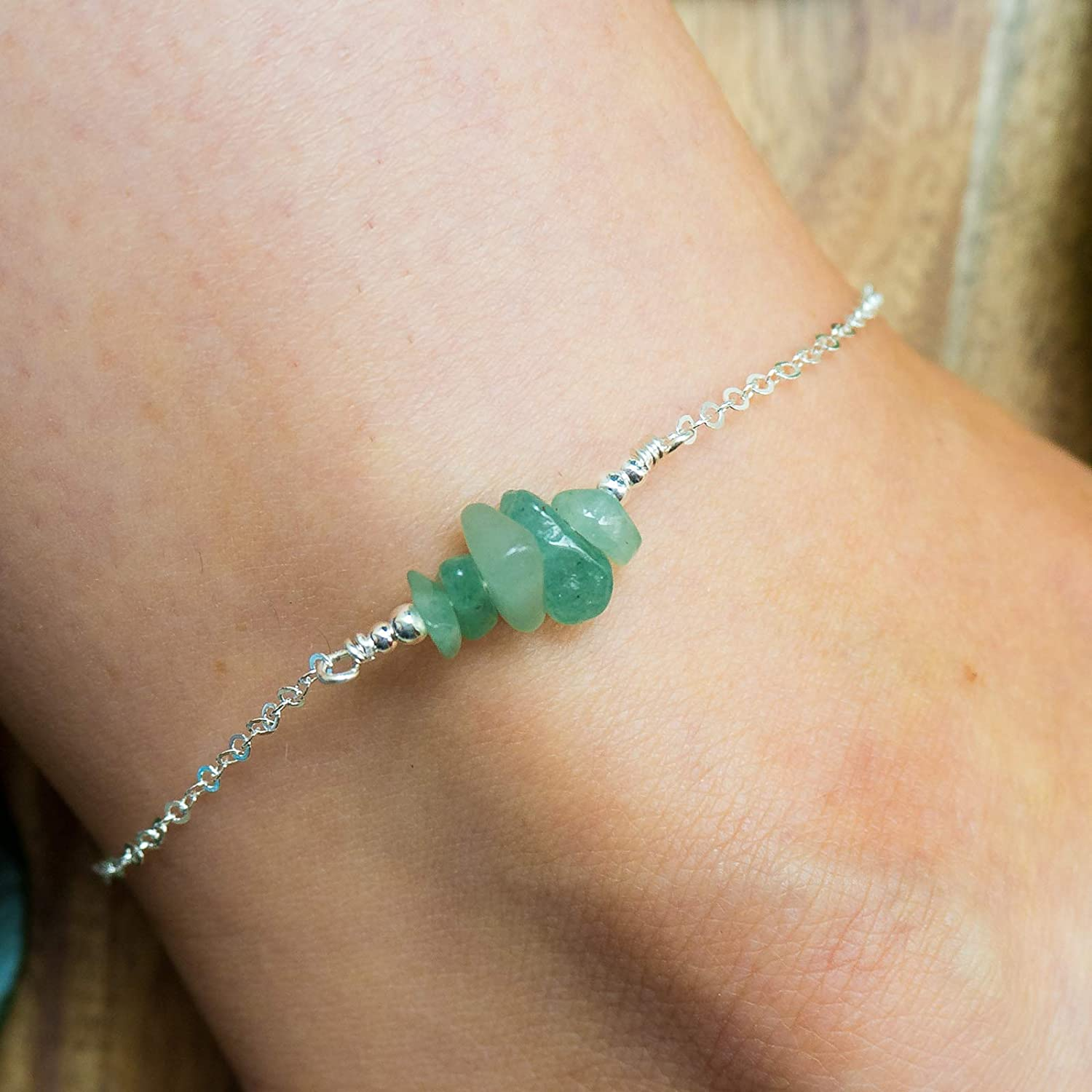 Aventurine bead bar crystal gemstone anklet in bronze, silver, gold or rose gold - 8' chain with 2' adjustable extender gold or rose gold - 8 chain with 2 adjustable extender
