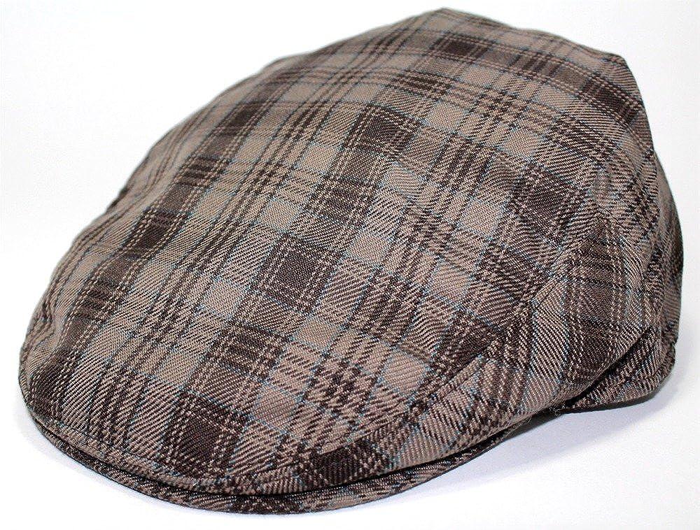 Mens Fashion Brown checks Ivy Flat Newboy Cap Hat Ultra Light Weight Fitted