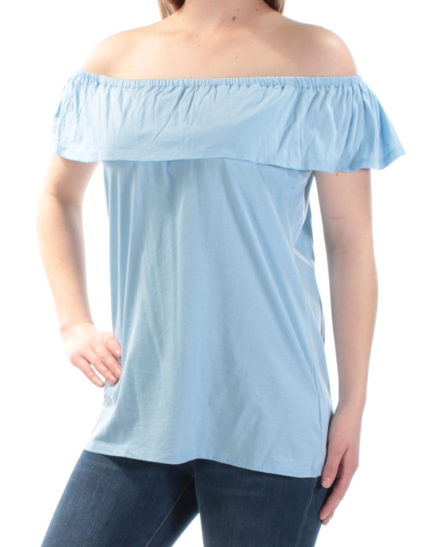 368d65cd2b5e7 MICHAEL Michael Kors Womens Modal Blend Off-The-Shoulder Peasant Top Blue M  at Amazon Women s Clothing store