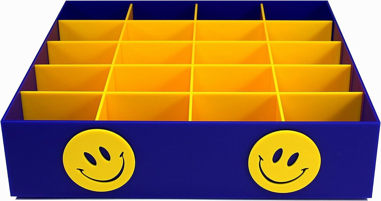 Acryl blau gl/änzend Estellani/® G/ürtelbox//Sockenbox f/ür Kinderkleidung Motiv Smiley G/ürtelaufbewahrung Sockenaufbewahrung