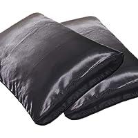 Dehman 100-Percent Silky Satin Hair Beauty Pillowcase, Black, King Size