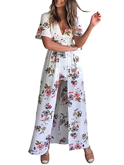 c6a444303fc1 Missy Chilli Women s V Neck Backless Printed Overlay Romper Short Jumpsuit Maxi  Dress
