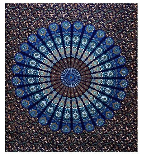 GLOBUS CHOICE INC. Blue Large Mandala Tapestry, Indian Hippie Wall Hanging, Bohemian Twin Wall Hanging, Bedspread Beach Coverlet Throw Decor Art
