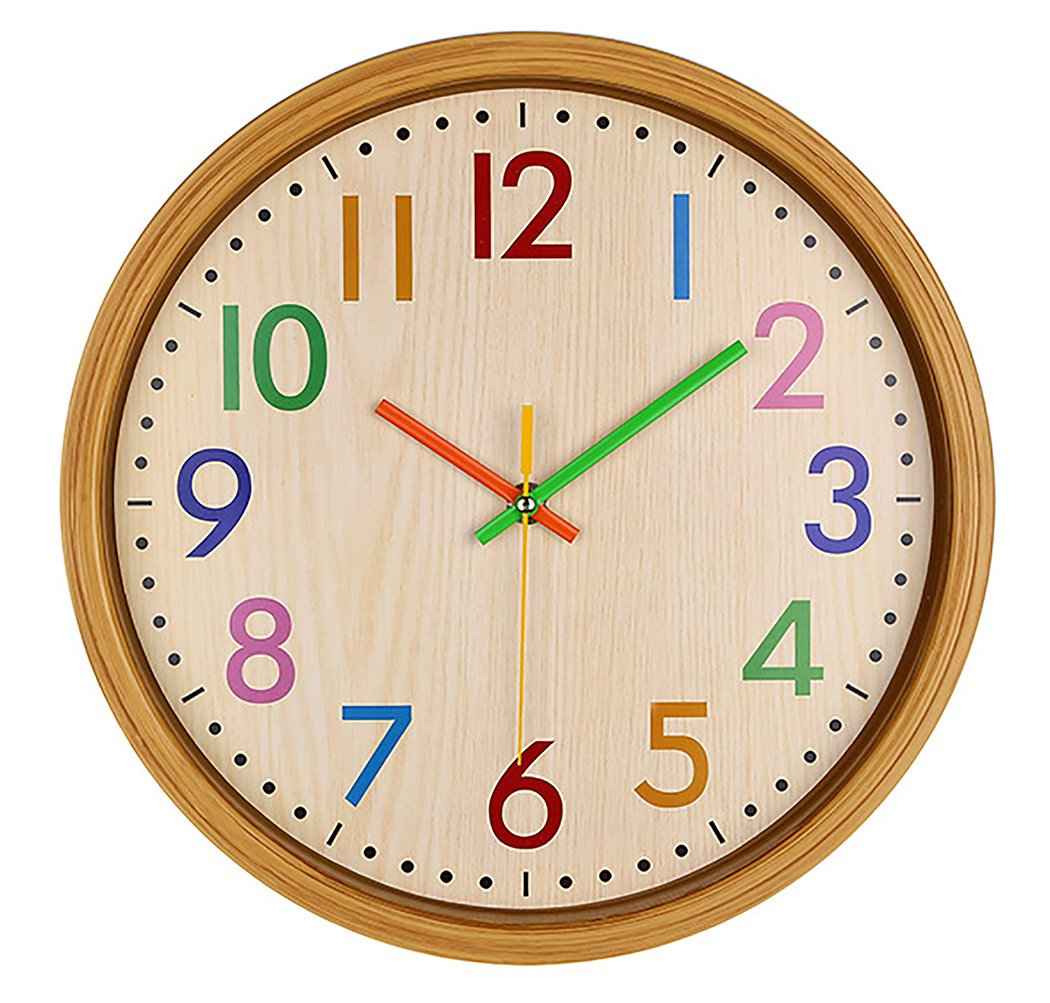 AIOLOC Kids Eco-friendlly Imitate Wood Wall Clock 12.5 Inch Silent Colorful Decorative Battery Operated Clocks Easy To Read for Children's Room