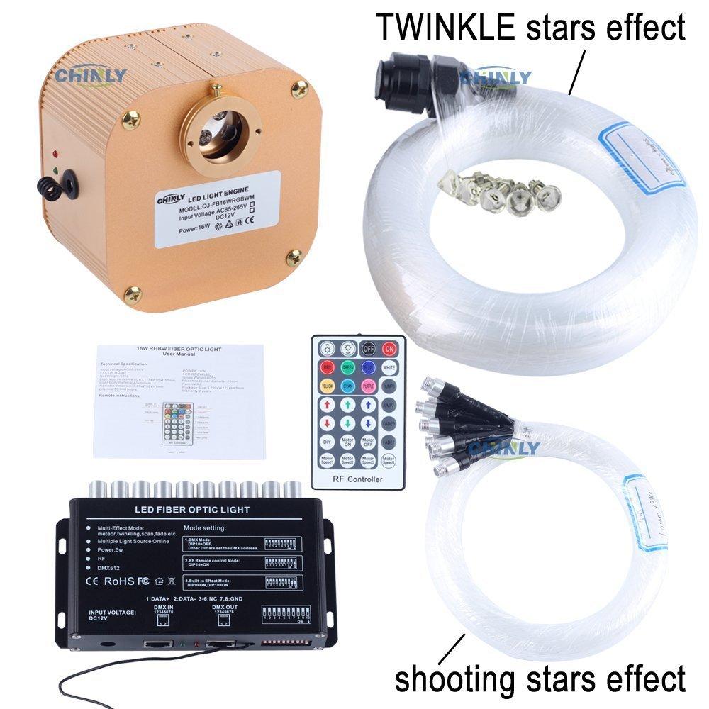 CHINLY 16W RGBW RF Remote Twinkle LED Fiber Optic Star Ceiling Light Kit 335 strands 13.1ft long,(0.75+1.0+1.5mm) Optical Fiber +3pcs Shooting Stars Effect