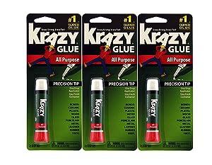 Krazy Glue Elmer's Original Crazy Super Glue All Purpose Instant Repair, 3 Piece