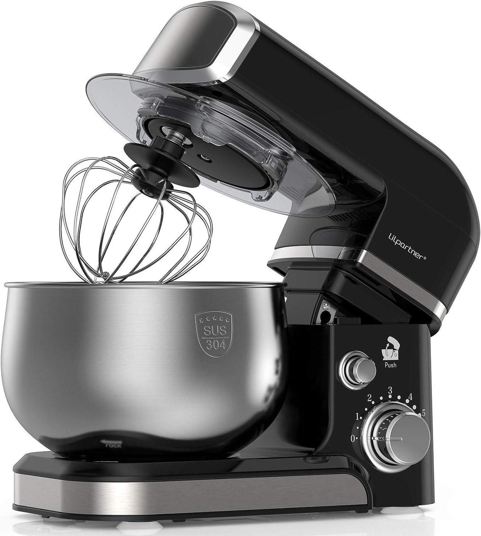 Lilpartner Stand Mixer, 1000W Professional Electric Kitchen Mixer Food Mixer, 6-Speed Tilt-Head Dough Mixer with 3.7-Qt Stainless Steel Bowl, Mixing Beater, Whisk, Dough Hook, Scraper &Splash Guard