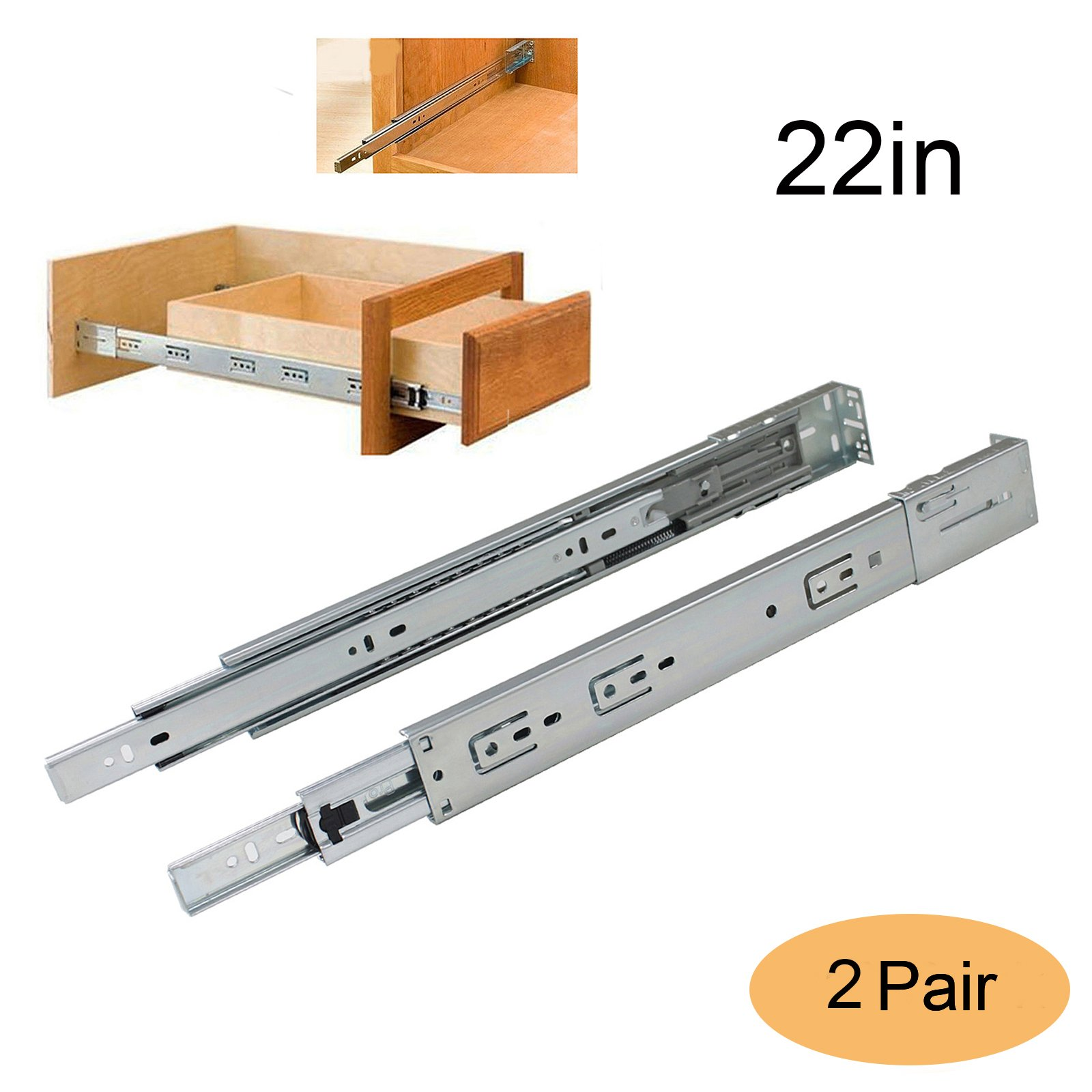 Gobrico 22in 100 LB Capacity Full Extension Soft/Self Close Ball Bearing Rear/Side Mount Drawer Slides with Brackets - 2 Pair Pack