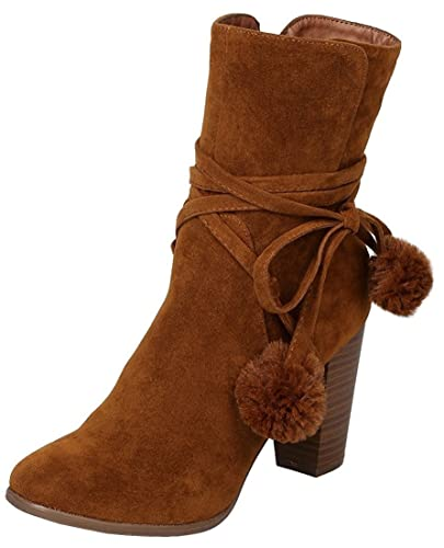 Women's Closed Toe Cuff Tassel Chunky Stacked Mid Heel Ankle Bootie