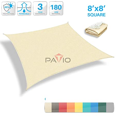 Patio Paradise 8 x 8 Tan Beige Sun Shade Sail Square Canopy – Permeable UV Block Fabric Durable Outdoor – Customized Available
