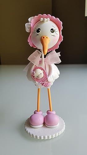 Hermosa Cigueña en Porcelana Baby Shower Nacimiento niña. Hecha a mano decoracion de tarta
