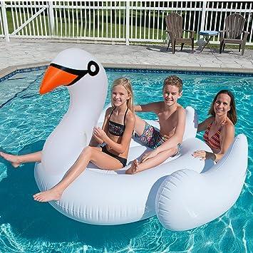 Cisne gigante flotador inflable de la piscina - Beby nueva serie 57in Cisne de gran tamaño flotador paseo en balsa Verano diversión piscina fiesta más ...