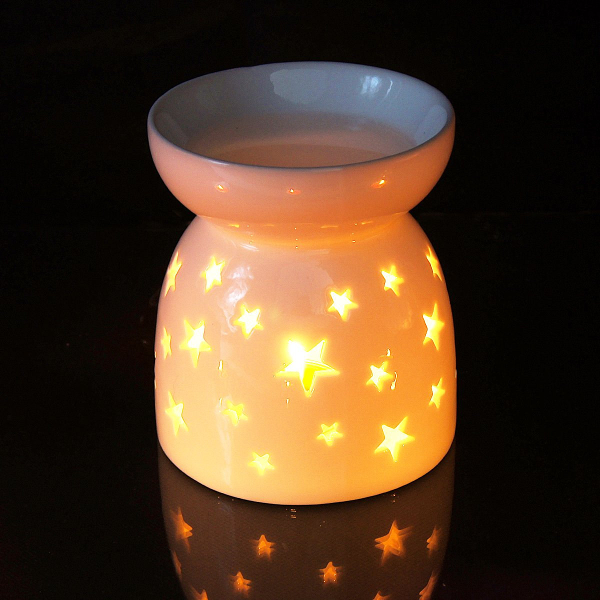 Ivenf Ceramic Essential Oil Incense Tart Tealight Candle Burner Diffuser, Holiday Home Decoration Valentine, Cutout Stars