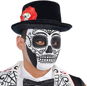 NET TOYS Máscara de Muerto Mexicano para Adulto - Blanco-Negro ...