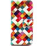 iPhone6 Etui - Pissenlit Coque en Cuir Portefeuille Housse de Protection Étui à Rabat Case pour iPhone 6 4,7 Pouces (Treillage coloré)