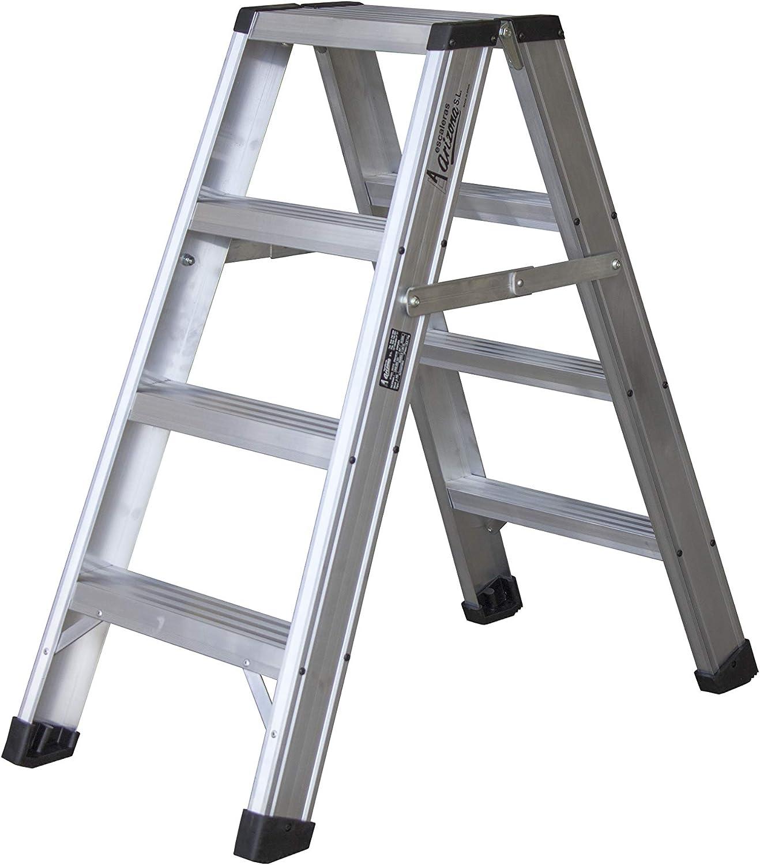 Escalera de tijera de aluminio de doble subida (4 peldaños): Amazon.es: Bricolaje y herramientas