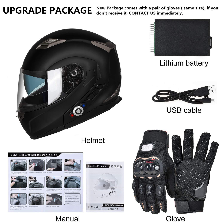 Motorcycle Bluetooth Helmets,FreedConn Flip up Dual Visors Full Face Helmet,Built-in Integrated Intercom Communication System Range 500M,2-3Riders Pairing,FM radio,Waterproof,M,Gloss Black