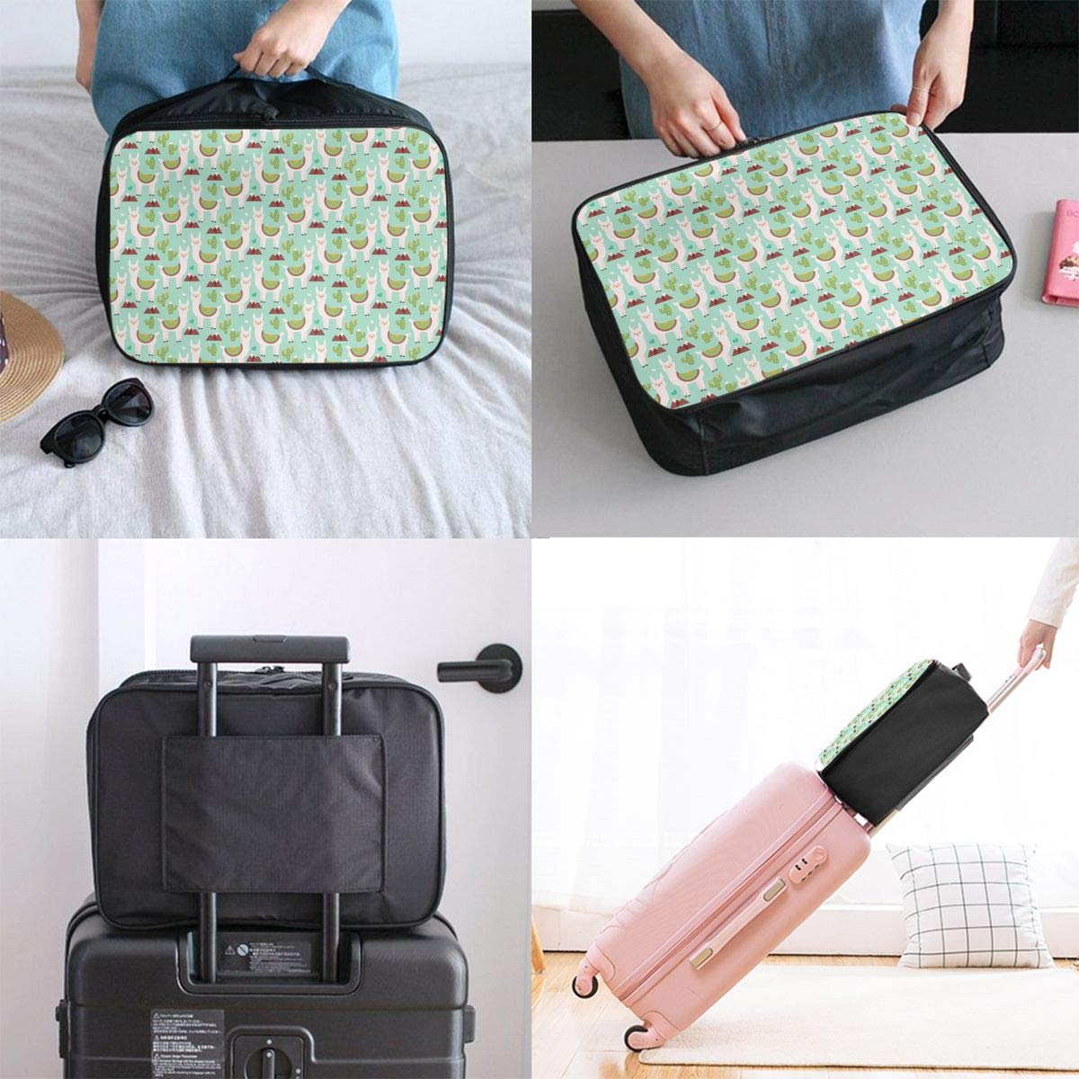 Travel Bag Llama Cactus Waterproof Large Capacity Portable Luggage Bag
