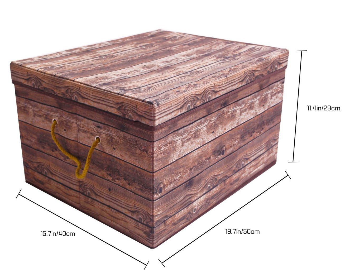 Nipole Vintage Imitation Wood Clothes Organizer Box Foldable Book Storage Basket Bins Large Size 19.7x15.7x11.4 082401