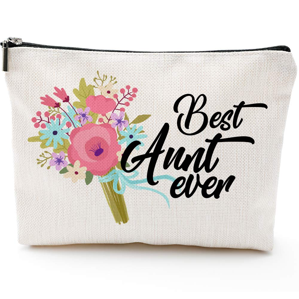 Aunt Gift,  Aunt Make Up Bag, Aunt Bag, Best Aunt ever, Aunt Cosmetic Bag, Gift for Aunt, Auntie Gift, New Aunt Gift, Funny Handle Bag, Prize for Aunt by Blue Leaves